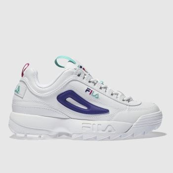 fd56987e6785 Fila White   Purple Disruptor Ii Premium Low Womens Trainers