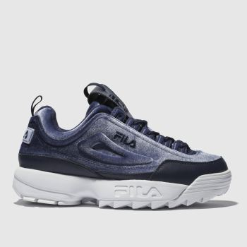 Fila Navy & White Disruptor Ii Premium Womens Trainers