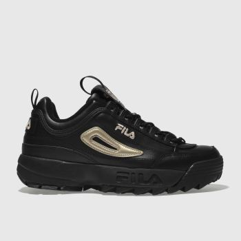 Fila Black & Gold Disruptor Ii Premium L Womens Trainers