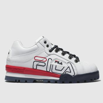 FILA WHITE & RED TRAILBLAZER LEATHER TRAINERS