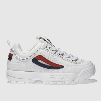 Fila White & Navy Disruptor Ii Premium Repeat c2namevalue::Womens Trainers