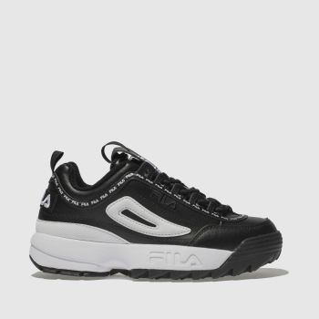 Fila Black & White Disruptor Ii Premium Repeat Womens Trainers