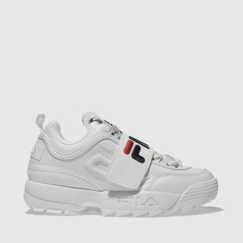 FILA WHITE DISRUPTOR STRAP APPLIQUE TRAINERS