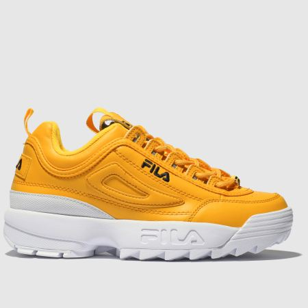 best service e007c d2d99 fila yellow disruptor ii leather trainers