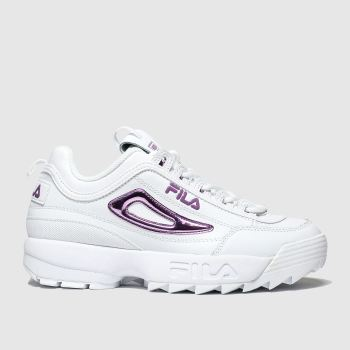 Fila White & Purple Disruptor Ii Metallic Accent Womens Trainers