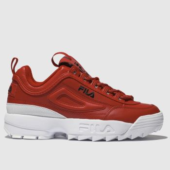 Fila Red Disruptor Ii Leather Womens Trainers
