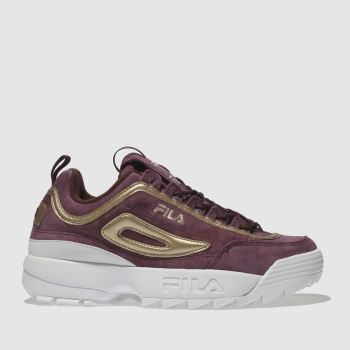 Fila Burgundy Disruptor Ii Womens Trainers