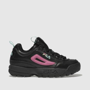 Fila Black & pink Disruptor Ii Womens Trainers