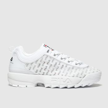 Fila White & Navy Disruptor Ii Clear Trainers