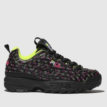 a1b3c52e86901 Fila Black   pink Disruptor Ii Multi Womens Trainers