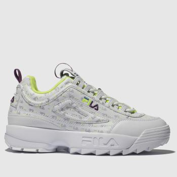 Fila White & Lime Green Disruptor Ii Multi Womens Trainers