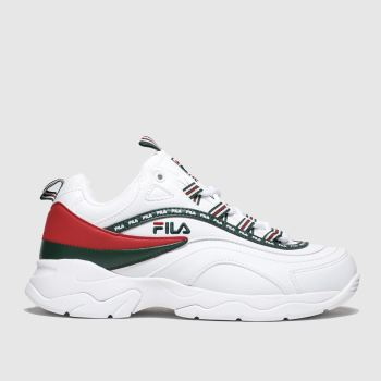 fila white & green ray trainers