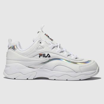 Fila White & Silver Ray Womens Trainers