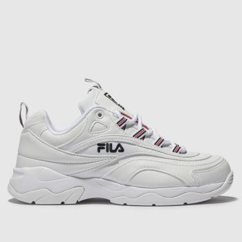 Fila White & Navy Ray Womens Trainers