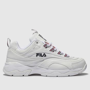 fila white & navy ray trainers