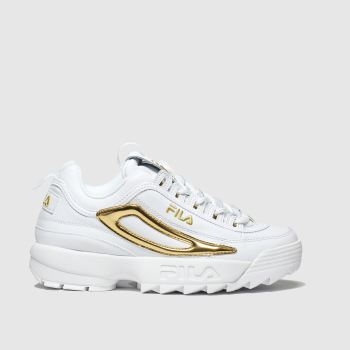 Fila White & Gold Disruptor Xl Logo Womens Trainers