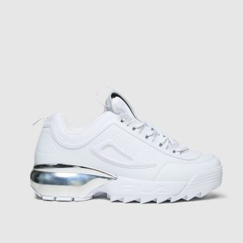Fila White & Silver Disruptor 2a Chrome Womens Trainers
