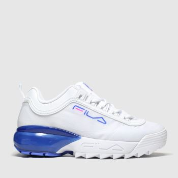 Fila White & Blue Disruptor 2a Womens Trainers