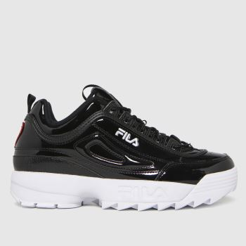 Fila Black & White Disruptor Ii Heart Womens Trainers