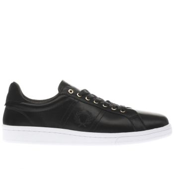 Fred Perry Black & White B721 SATIN Trainers