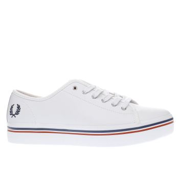 FRED PERRY WHITE & NAVY PHOENIX FLATFORM TRAINERS