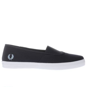 FRED PERRY NAVY & WHITE AUBYN SLIP ON TRAINERS