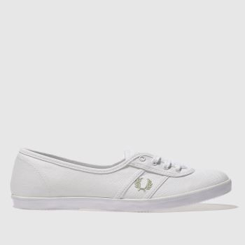Fred Perry White & Green Aubrey Twill Womens Trainers