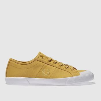 Fred Perry Yellow Ellerton Canvas Womens Trainers