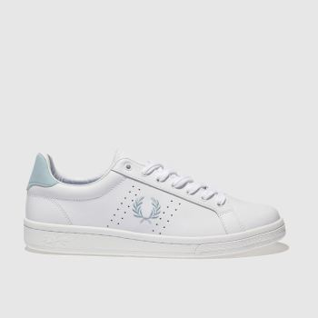 Fred Perry White & Pl Blue B721 Leather Womens Trainers
