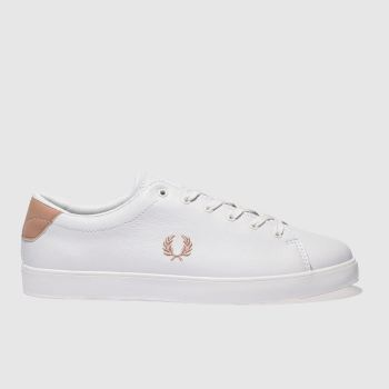 FRED PERRY WHITE & PINK LOTTIE LEATHER TRAINERS
