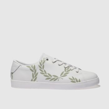 Fred Perry White & Green Lottie Printed Leather Womens Trainers