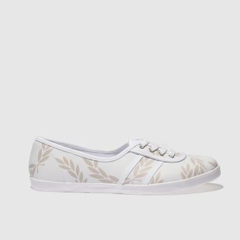 FRED PERRY WHITE & PINK AUBREY PRINTED LEATHER TRAINERS