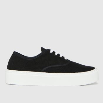 schuh Black Miracle Canvas Flatform Lace Womens Trainers