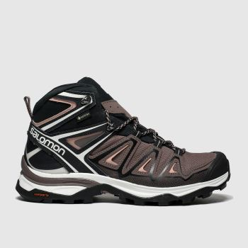 Salomon Black & pink X Ultra 3 Mid Gtx Womens Trainers
