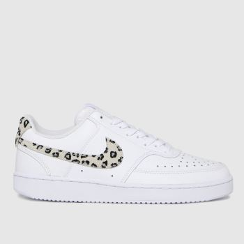 Nike White & Black Court Vision Low Womens Trainers