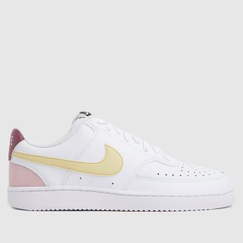 Nike White & Yellow Court Vision Low Womens Trainers