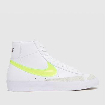 Nike White & Yellow Blazer Mid 77 Ess Womens Trainers