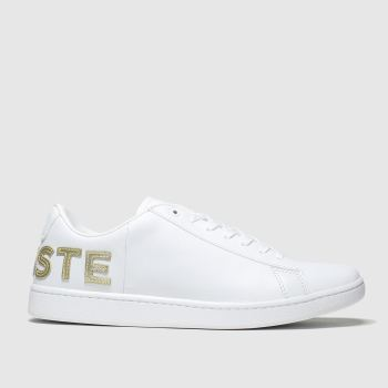 Lacoste White & Gold Carnaby Evo Trainers