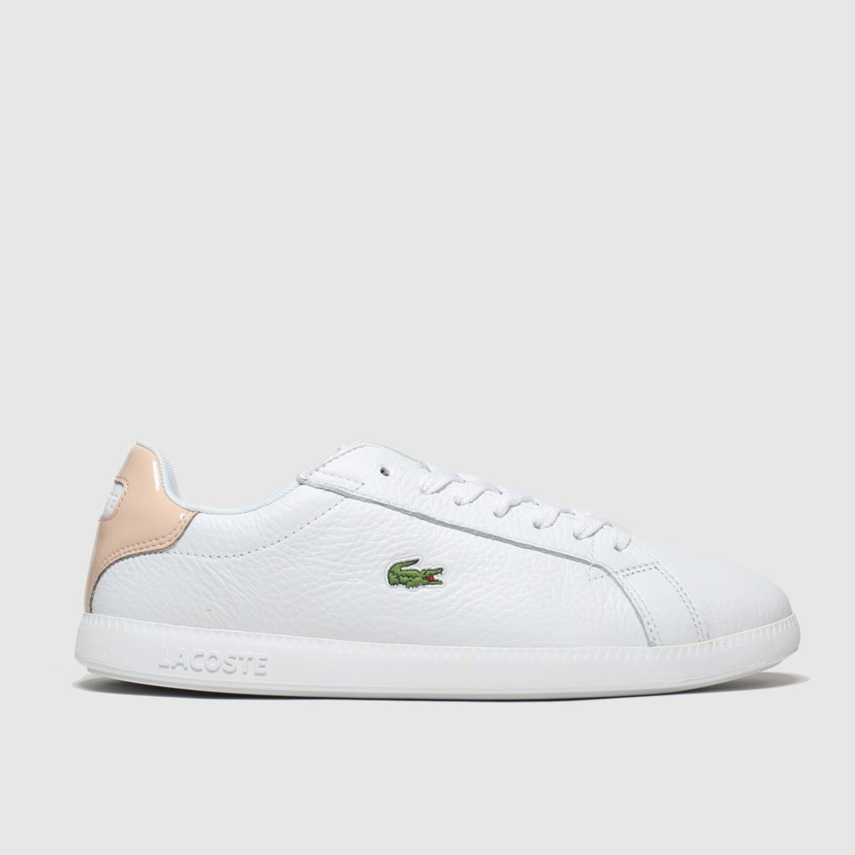 Lacoste Graduate 120 trainers in white with pink back tab White