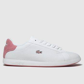 lacoste white & pink graduate trainers