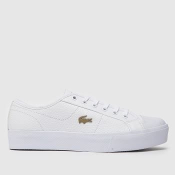 Lacoste White & Gold Ziane Plus Grand Womens Trainers#