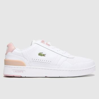 Lacoste White & Pink T-clip Womens Trainers
