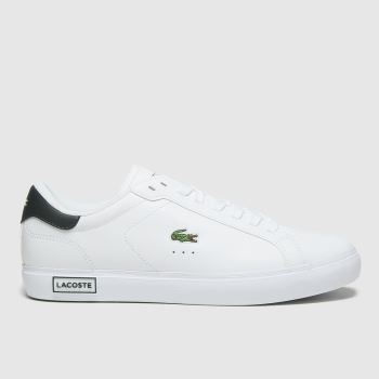 Lacoste White & Green Powercourt Womens Trainers