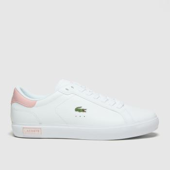 Lacoste White & Pink Powercourt Womens Trainers#