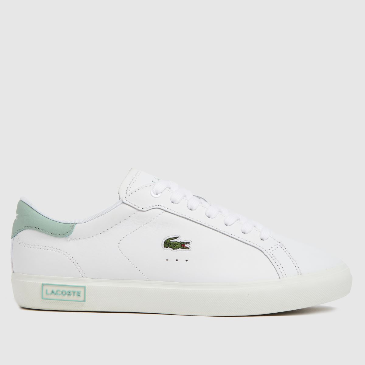 Lacoste White & Green Powercourt Trainers