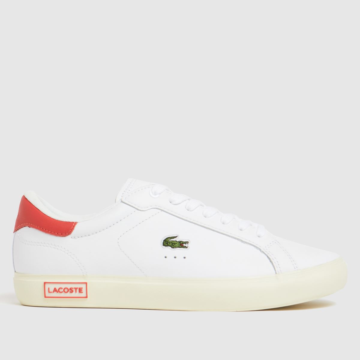 Lacoste White & Pink Powercourt Trainers