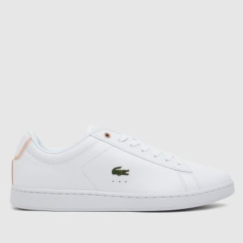 Lacoste White & Pink Carnaby Evo Womens Trainers