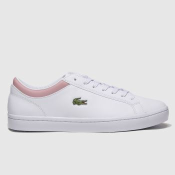 Lacoste White & Pink Straightset Womens Trainers