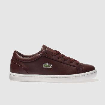 LACOSTE BURGUNDY STRAIGHTSET TRAINERS