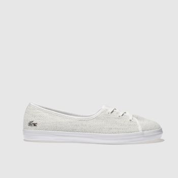 LACOSTE WHITE & SILVER ZAINE CHUNKY 318 TRAINERS